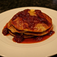 Wheatberry Pancakes with Strawberry Syrup