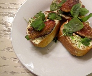 Fresh Fig, Micro Arugula, and Mascarpone Bruschetta