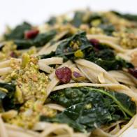 Whole Grain Linguine with Kale, Dried Cranberries, and Pistachio Sauce