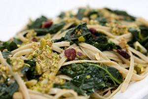 Whole Grain Linguine with Kale, Dried Cranberries, and Pistachio Sauce