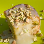 White Chocolate Mascarpone Pistachio Brownies with Cardamom-White Chocolate Sauce