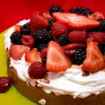 Hot Milk Sponge Cake with Balsamic Berries and Stabilized Whipped Cream