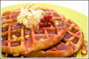 Cornmeal Waffles with Fresh Currant Syrup Topped with Honeyed Mascarpone and Pistachios