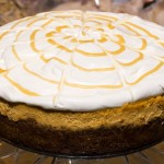 Pumpkin Cheesecake with Maple Caramel Sauce and Creme Fraiche Whipped Cream