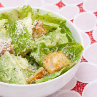 Basil Caesar Salad with Homemade Croutons