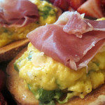 Soft Scrambled Eggs with Arugula and Prosciutto