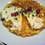 Corn Risotto with Basil Breadcrumbs, Pancetta, and a Fried Egg