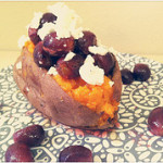 Goat Cheese-Stuffed Sweet Potatoes with Honey and Roasted Grapes