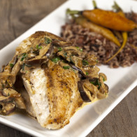 Chicken Breasts with Shiitake-Thyme Cream Sauce and Roasted Baby Carrots