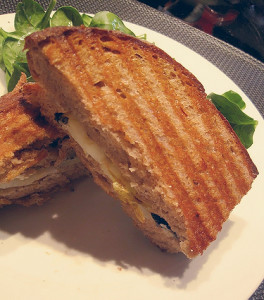 Grilled Pear, Humboldt Fog, and Mint Panini