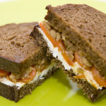 Moroccan Carrot and Goat Cheese Sandwich with Green Olive Tapenade