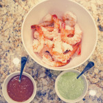 Shrimp with Orange Cocktail Sauce and Green Goddess Dipping Sauce