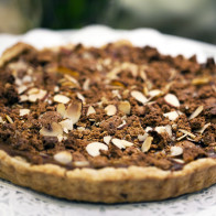 Pumpkin Pie Tart with Candied Ginger Whipped Cream