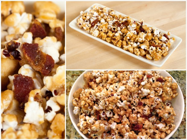 Bacon and Cashew Caramel Corn | spachethespatula.com #recipe