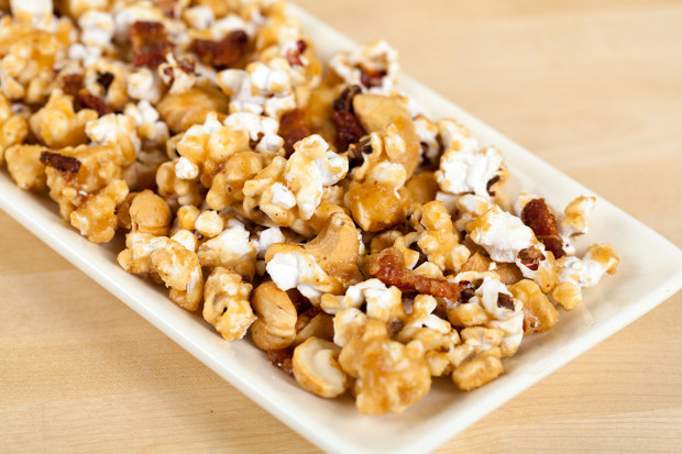 Bacon and Cashew Caramel Corn | Spache the Spatula
