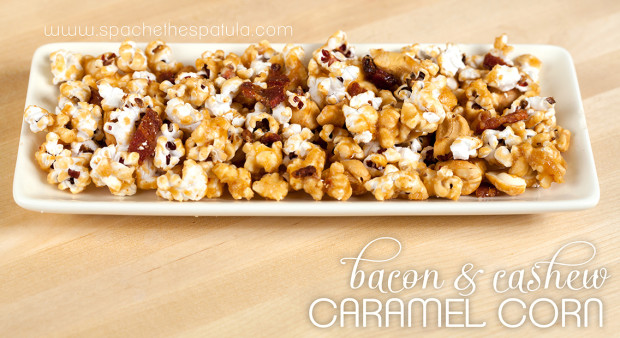 Bacon and Cashew Caramel Corn | spachethespatula.com #recipe..