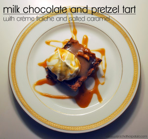 Milk Chocolate and Pretzel Tart with Crème Fraîche and Salted Caramel | spachethespatula.com #recipe