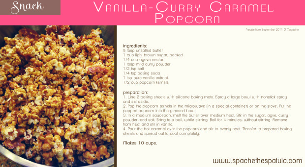 Vanilla Curry Popcorn | spachethespatula.com #recipe