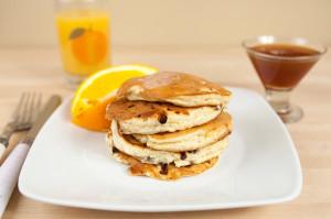 Cottage Cheese Pancakes with Spiced Orange Maple Syrup | spachethespatula.com #recipe