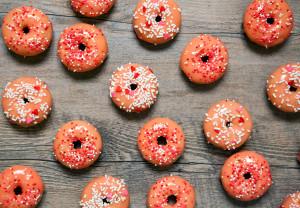 Baked Rose Water Donuts with White Chocolate Glaze | spachethespatula.com #recipe