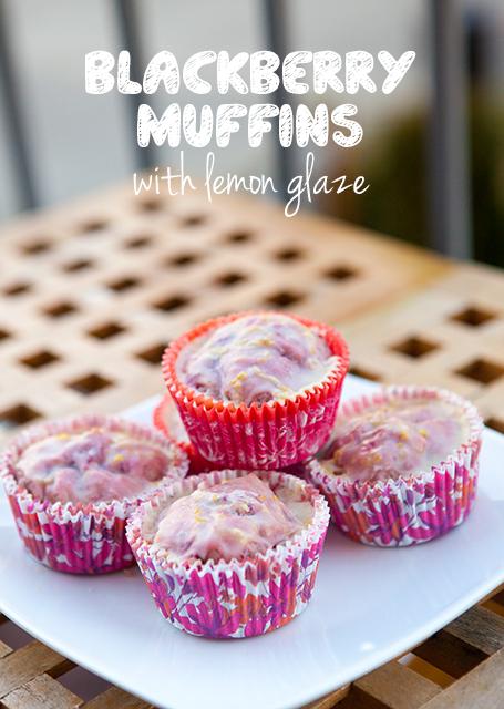 Blackberry Muffins with Lemon Glaze   spachethespatula.com #recipe