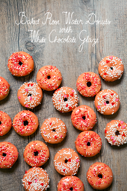 Baked Rose Water Donuts with White Chocolate Glaze | spachethespatula.com #recipe