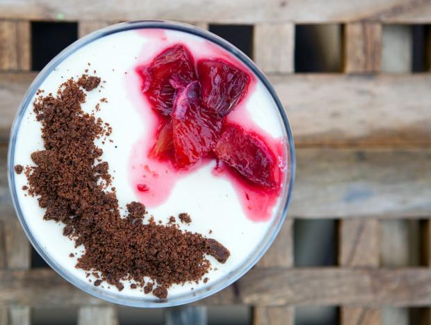 Vanilla Bean Panna Cotta with Blood Orange Syrup and Chocolate Cookie Crumble   spachethespatula.com #recipe