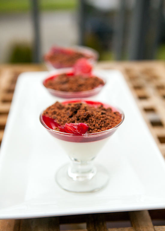 Vanilla Bean Panna Cotta with Blood Orange Syrup and Chocolate Cookie Crumble