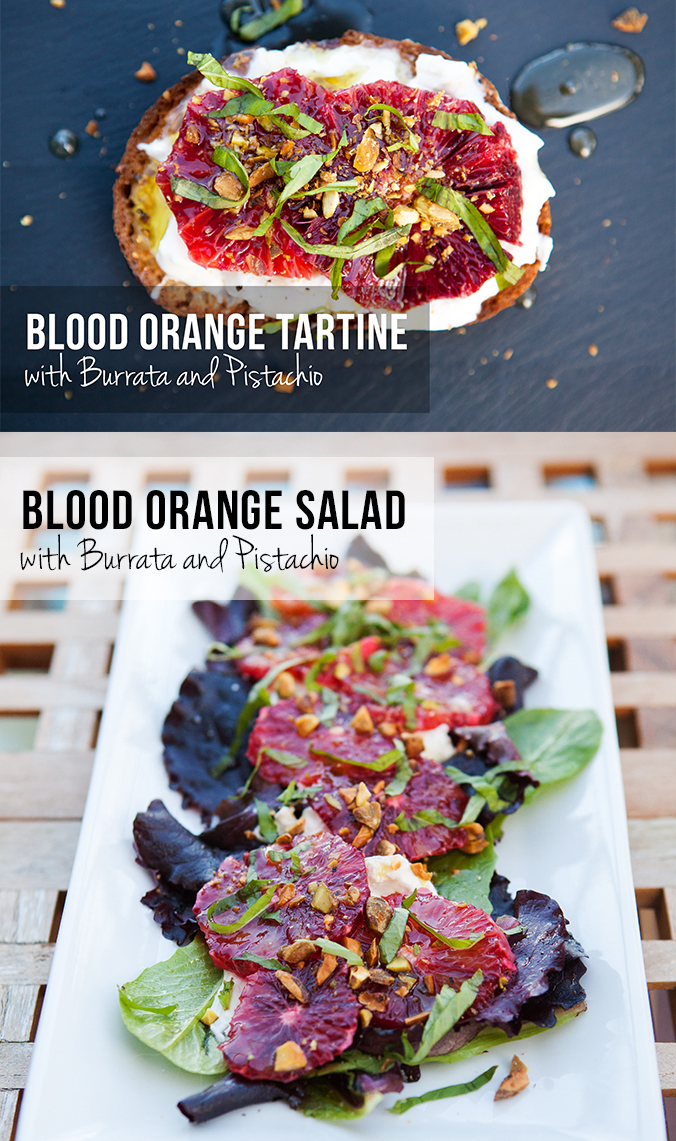Blood Orange with Burrata and Pistachio: 2 Ways