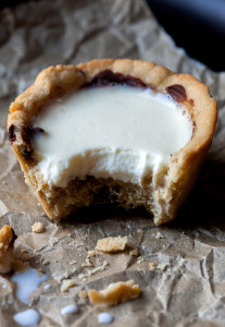 Chocolate Chip Cookie Cups with Panna Cotta Milk | spachethespatula.com #recipe