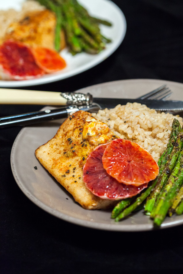 Pan-Seared Mahi Mahi with Blood Orange Butter & Pesto Roasted Asparagus   spachethespatula.com #recipe