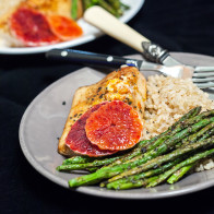 Pan-Seared Mahi Mahi with Blood Orange Butter & Pesto Roasted Asparagus | spachethespatula.com #recipe