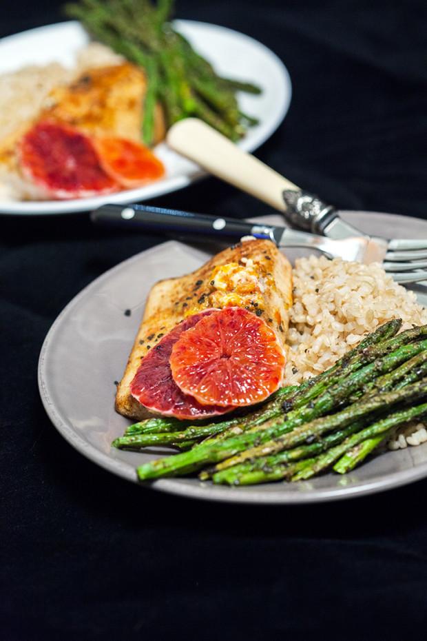 Pan-Seared Mahi Mahi with Blood Orange Butter & Pesto Roasted Asparagus