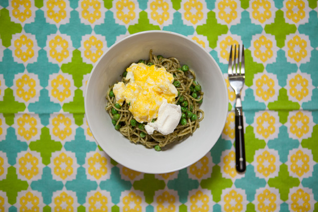 Pesto Pasta with Scrambled Eggs and Ricotta | spachethespatula.com # ...