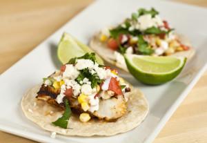 Blackened Mahi Tacos with Corn and Watermelon Salsa
