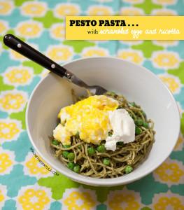 Pesto Pasta with Scrambled Eggs and Ricotta   spachethespatula.com #recipe