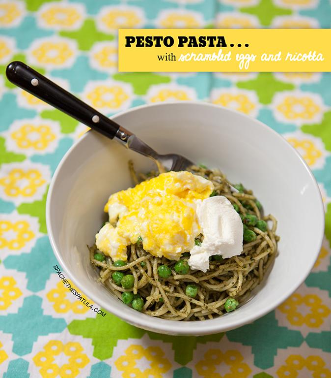 Pesto Pasta with Scrambled Eggs and Ricotta | spachethespatula.com #recipe