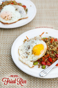 Pesto Fried Rice | spachethespatula.com #recipe