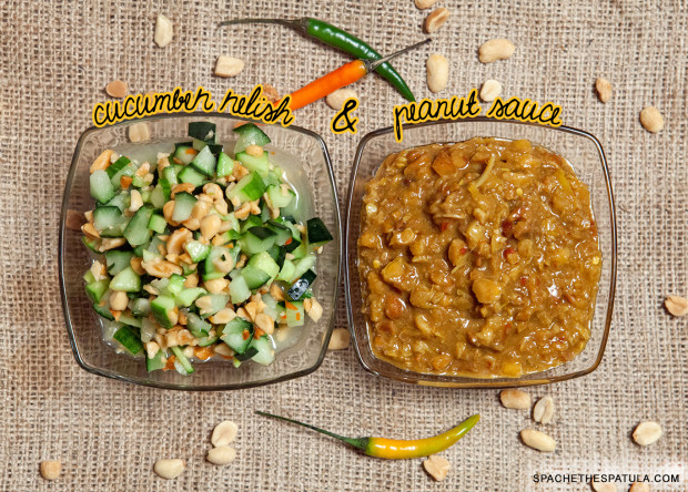 Peanut Sauce (Naam Sa-Te) and Cucumber Relish (Ajat) | spachethespatula.com #recipe