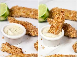 Coconut-Lime Chicken Fingers with Coconut Milk Ranch | spachethespatula.com #recipe