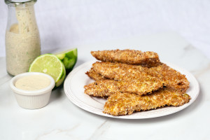 Coconut-Lime Chicken Fingers with Coconut Milk Ranch | spachethespatula.com #recipe