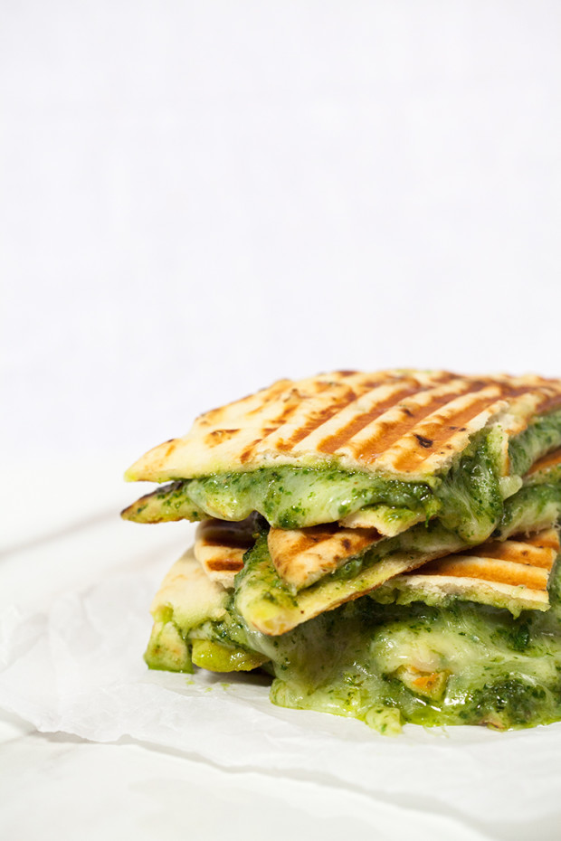 Naan Grilled Cheese with Homemade Pesto