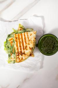 Naan Grilled Cheese with Homemade Pesto   spachethespatula.com #recipe