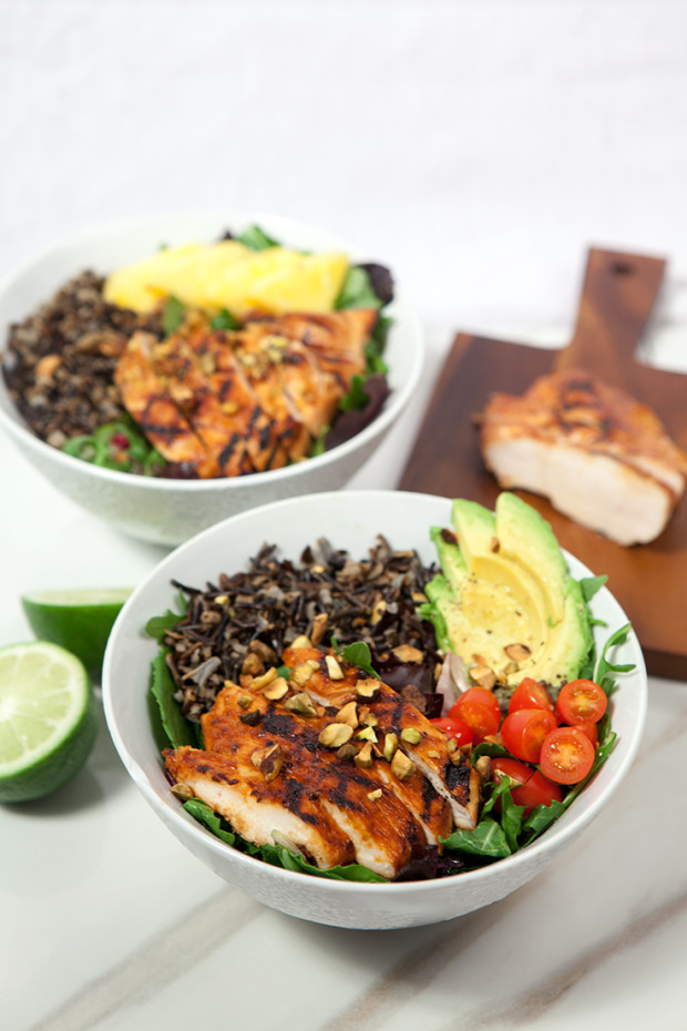 Pineapple-Sriracha Chicken Salad Bowls with Wild Rice | spachethespatula.com #recipe