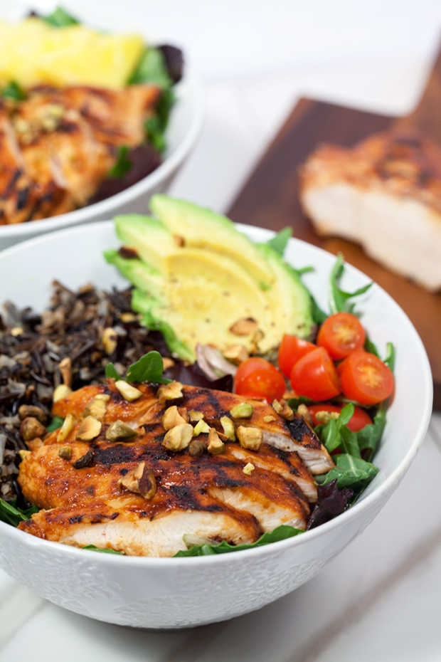 Pineapple-Sriracha Chicken Bowls with Wild Rice