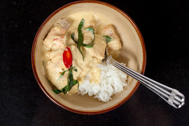 Thai Red Curry with Salmon and Bamboo Shoots   spachethespatula.com #recipe