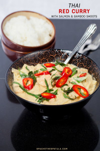 Thai Red Curry with Salmon and Bamboo Shoots | spachethespatula.com #recipe