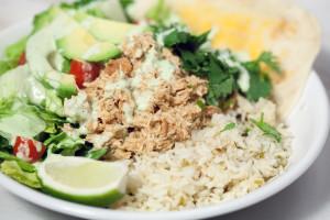 Cafe Rio-Style Pulled Chicken Salad (with Creamy Tomatillo Ranch!) | spachethespatula.com #recipe