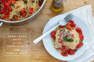 Angel Hair Pasta with Fresh Garlic Tomato Sauce | spachethespatula.com #recipe
