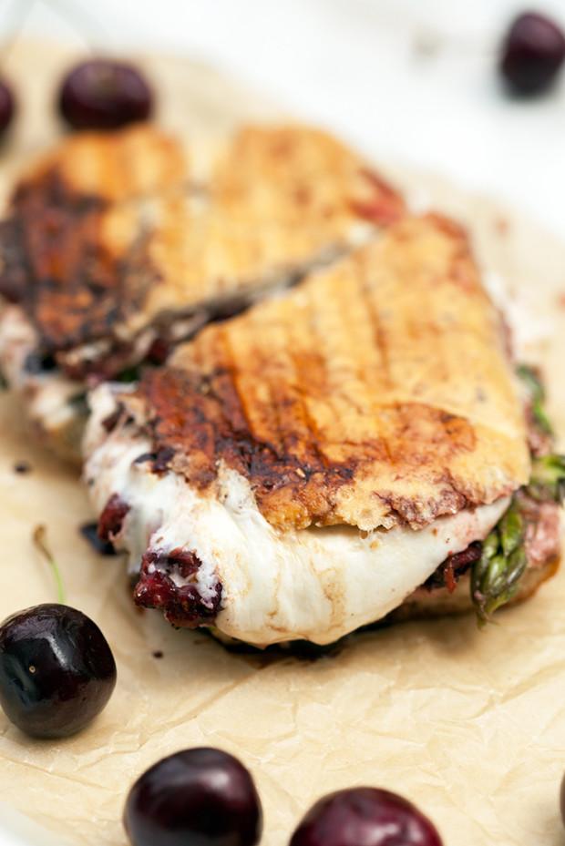 Balsamic Cherry and Shaved Asparagus Panini | spachethespatula.com #recipe